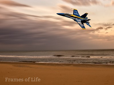 Blue Angels F/A 18 Over Beach
