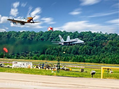 F/A 18 and P 51 Mustang  Pass at Oceania Air Show