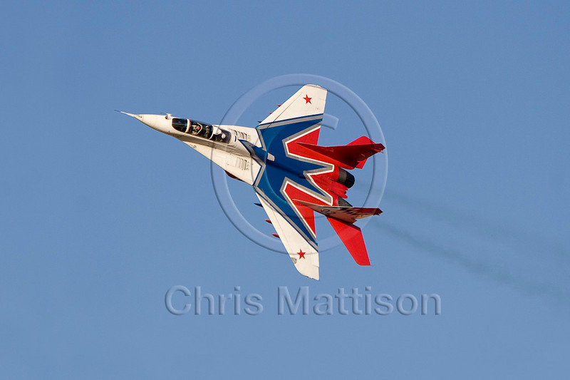 MIG-29 Fulcrum of the Russian Air Force, performing at the Al Ain airshow, United Arab Emirates, 2007