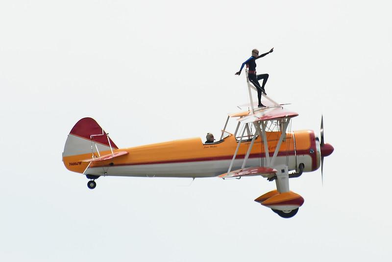 Wingwalker Jane Wicker on her<br /> 1941 450 HP Boeing Stearman