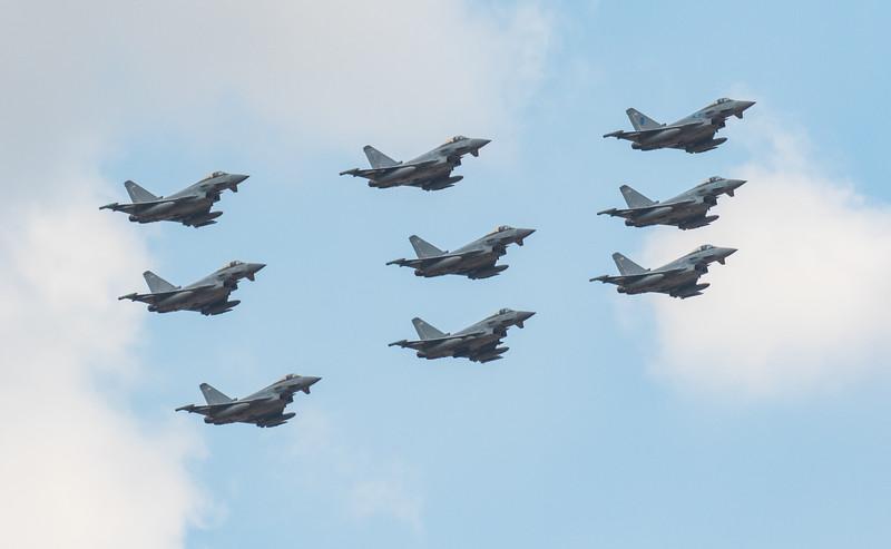RAF100 - Eurofighter Typhoon - 9 Ship Diamond - RIAT - RAF Fairford (July 2018)