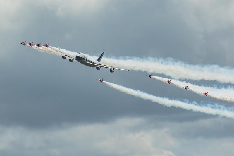 BA 100 - Boeing 747 - BA 'BOAC' Livery - Red Arrows - RIAT - RAF Fairford (July 2019)