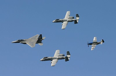 Heritage Flight:  F-15 Eagle, A-10 Warthog (2), TF-51 Mustang