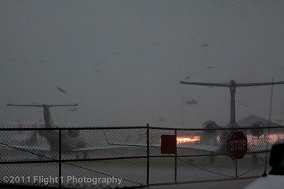 A severe thunderstorm cell with heavy rain and high winds hits the Sun 'n Fun airshow at noon on March 31, 2011.