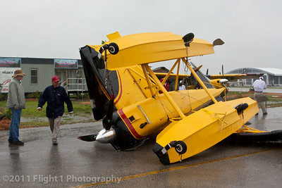 This Aviat Husky on floats was no match for the high winds in the storm.