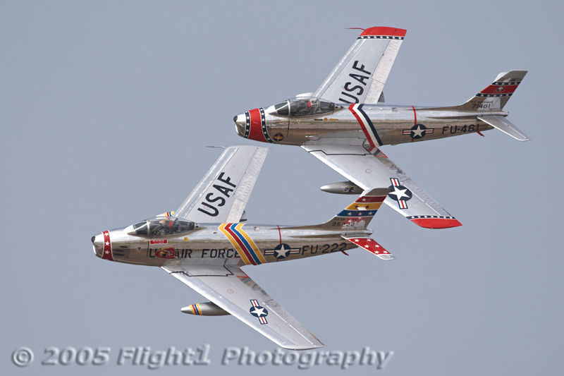 Snodgrass and Shipley in a nice photo pass in the Korean War-vintage F-86 Sabre