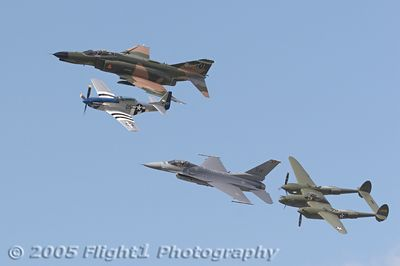 The P-38 and P-51 represent WW II, the F4 salutes Vietnam Vets, and the F16 represents modern day warriors