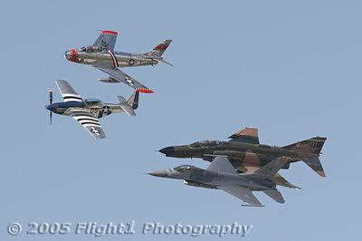 Heritage Flight: World War II P-51; Korean War F-86; Vietnam War F4, and Iraq War F16