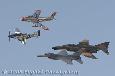 "Lee Lauderback in the P-51 ""Crazy Horse 2""; Ed Shipley in the F-86; Maj Geoff ""Hak"" Hickman in the F-16, and Lt Col Jerry Kerby in the F-4 Phantom"