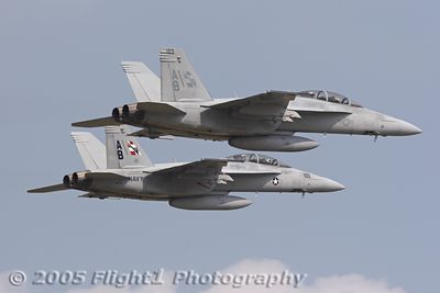 Two Super Hornets from the VFA-211 Checkmates. The Checkmates are a former Tomcat squadron that has transitioned to the F/A-18F Super Hornet