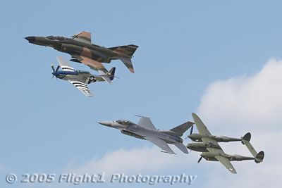 """Heritage Flight: Lee Lauderback in the P-51, Lt Col Jerry Kerby in the F4, Maj Geoff Hickman in the F16, and Steve Hinton in the P-38 """"Glacier Girl"""""""