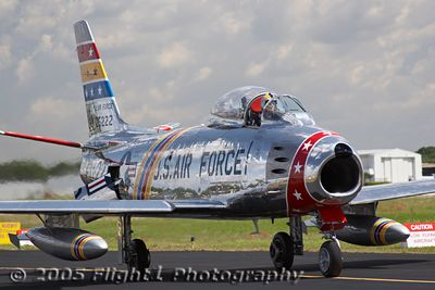 Wyatt Fuller of Hickory, NC arrives in his beautiful F-86 Sabre