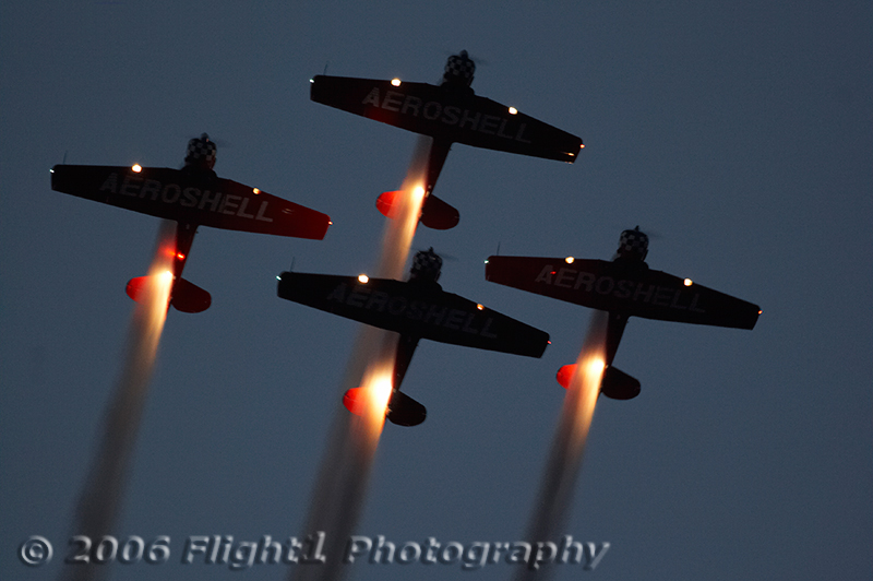 The AeroShell Team is the only major formation team to fly a true twilight show