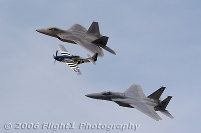 Sun 'n Fun 2006 featured a rare Heritage Flight featuring the F-22A Raptor, F-15C, and P-51 Mustang - this one was flown on Friday