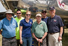 CAF MN Wing members w/ guest veteran.  L-R Bill Miller, Jim Lauria, Amy Lauria, veteran, Kris Van Ranst, Mark Erickson.  B-25 Miss Mitchell in background.
