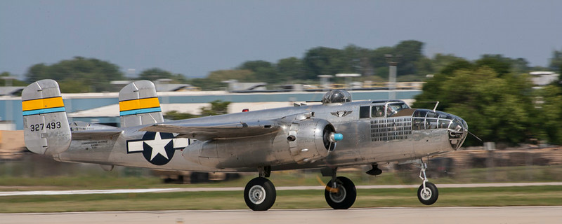 "CAF MN Wing B-25 ""Miss MItchell"", take off Rwy 18."