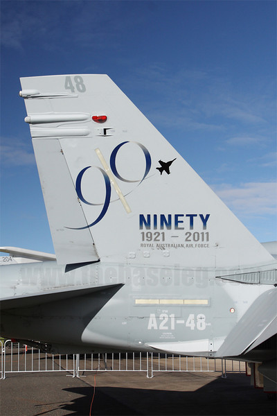 F/A-18A Hornet A21-48 received this (IMO uninspiring) tail art to commemorate the RAAF's 90th Anniversary.
