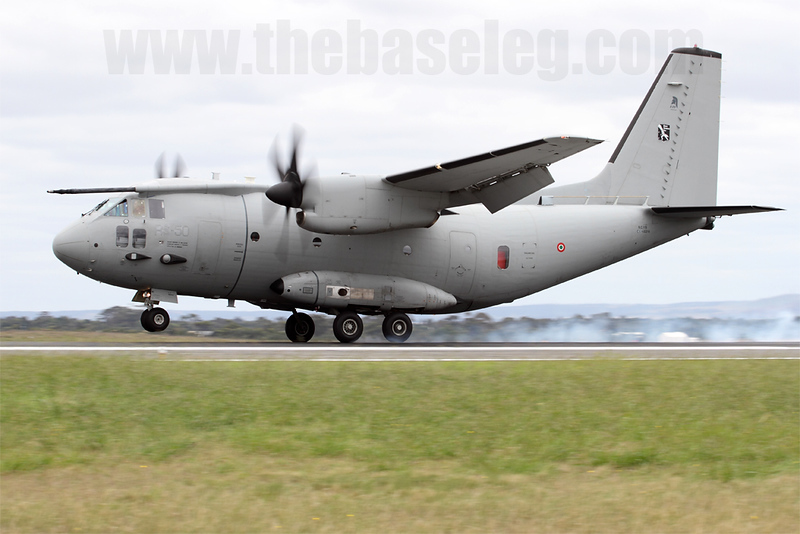 Tyres smoke as Alenia C-27J RS-50 of the Italian Air Force's Reparto Sperimentale Volo (Experimental Flight Department) lands after its impressive handling display