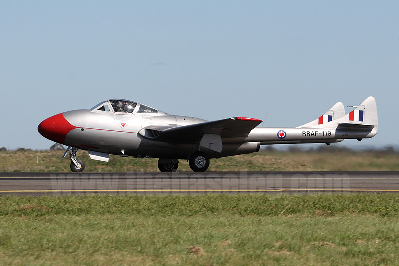 Another warbird that's frequently in my collection is DH Vampire VH-ZVZ in Royal Rhodesian Air Force markings