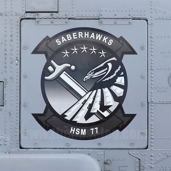 Insignia of the US Navy's Helicopter Strike Maritime Squadron (HSM) 77 Saberhawks.