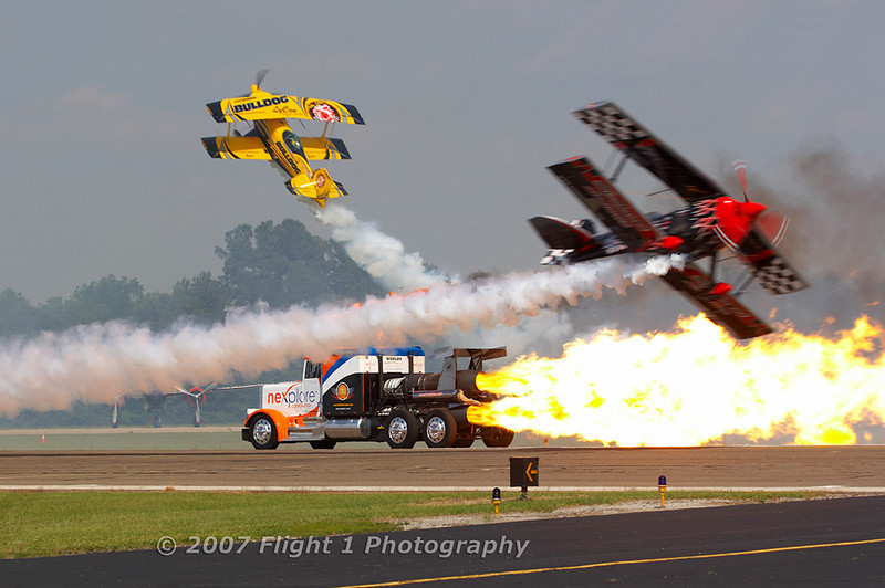 Jim LeRoy, Skip Stewart, and the Shockwave jet truck.