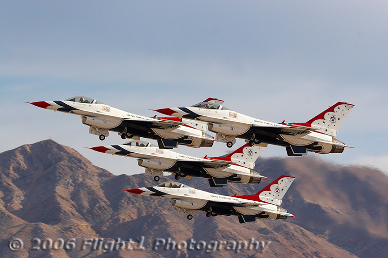 The USAF Thunderbirds with their diamond takeoff