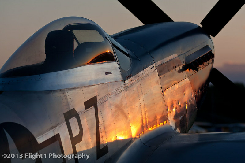 A Mustang basks in the late afternoon sun at EAA AirVenture in Oshkosh, Wisconsin.
