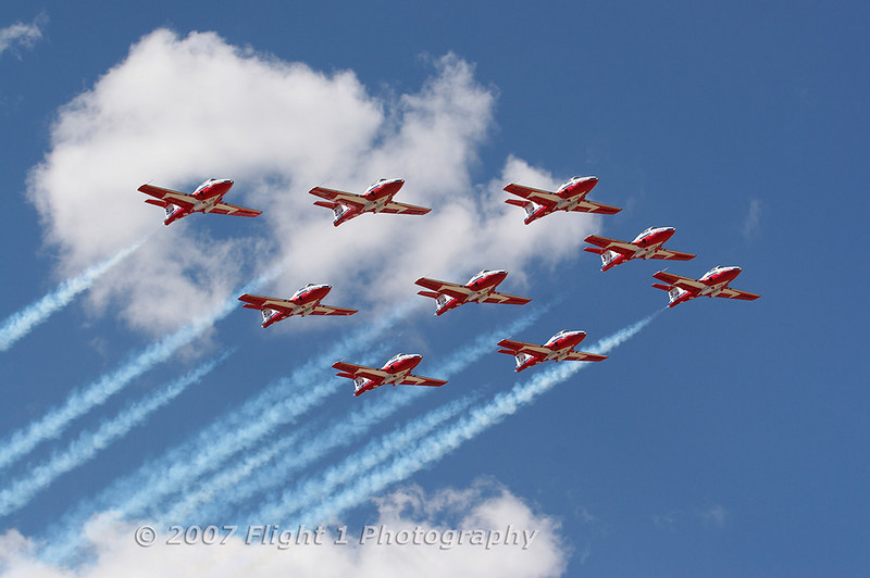 The Canadian Snowbirds jet team.