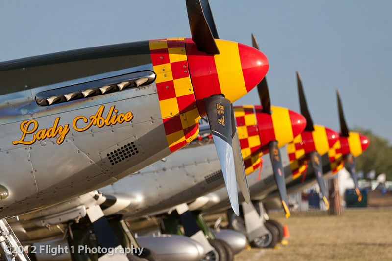 Lady Alice and Mustang Row at EAA AirVenture in Oshkosh, Wisconsin.
