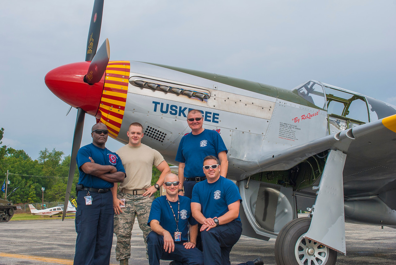 Members of the Ohio Air National Guard fire department visit the Mustang