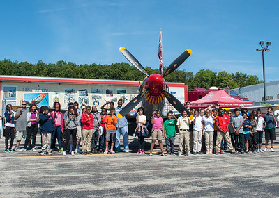 Students after watching the RISE ABOVE movie during Aviation Week at the Toledo Express Airport