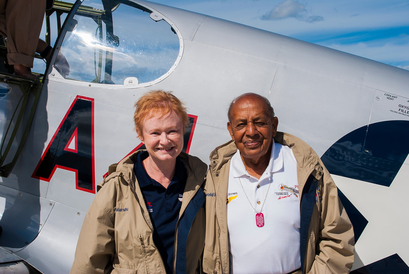 Marsha Bordner and Harold Brown before her first Mustang flight in Port Clinton Ohio