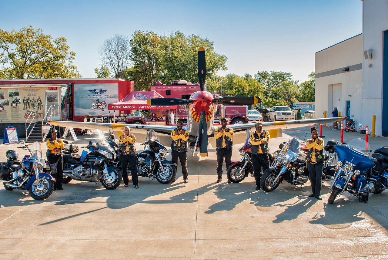 Buffalo Soldiers Motorcycle Club from Toledo visiting the Liberty Aviation Museum in Port Clinton.