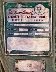 de Havilland Buffalo manufacturer's plate