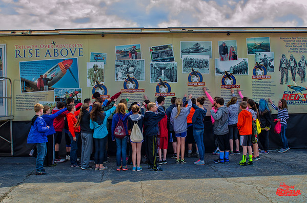 6th graders point to the principle that means the most to them after seeing the RISE ABOVE movie at the Air Heritage Museum in Beaver County Pennsylvania.