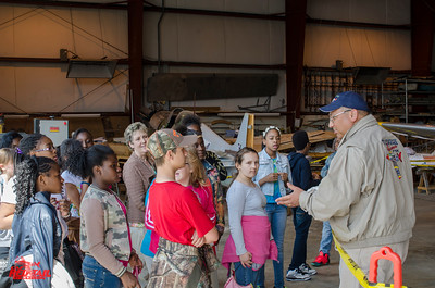 Pilot Bill Shepard answers students' questions about the Mustang.