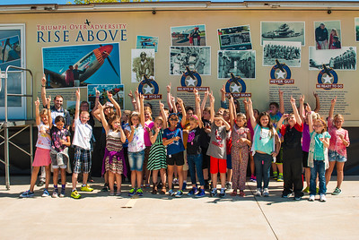 Enthusiatic students after seeing the RISE ABOVE movie at the Liberty Aviation Museum in Port Clinton, Ohio.