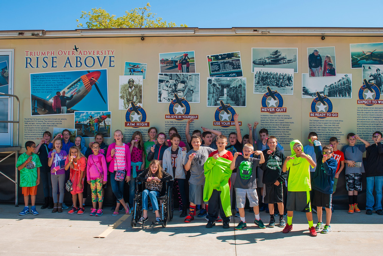 Students after seeing the RISE ABOVE movie at the Liberty Aviation Museum in Port Clinton, Ohio.