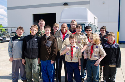 Scouts meeting former Tuskegee Airman Dr. Harold Brown
