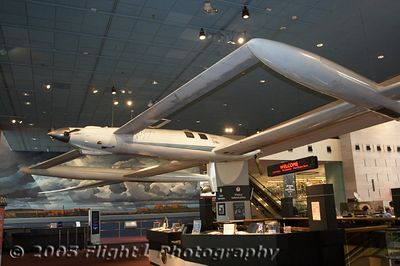 The Voyager, flown by Dick Rutan and Jeanna Yeager in the first nonstop flight around the world