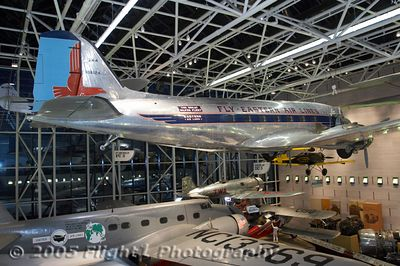 The Eastern DC-3 in the Transportation Gallery at Night