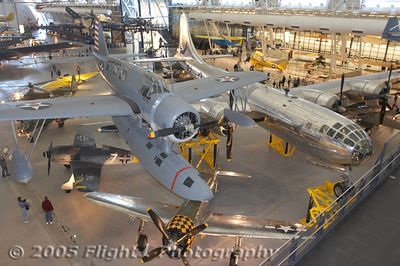 "Vought-Sikorsky OS2U-3 Kingfisher, B-29 ""Enola Gay"", and P-47 Thunderbolt"