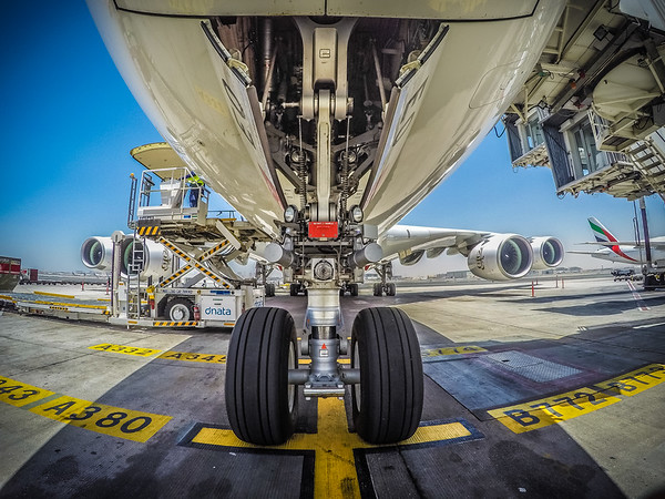 Emirates A380-800 on the gate in Dubai, UAE.  Photo by: Stephen Hindley©