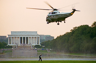 Marine One with President Clinton aboard. Washington, D.C.