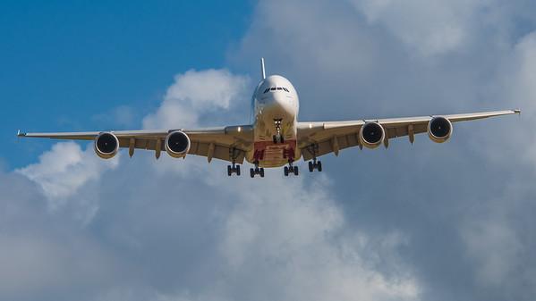 Emirates A380 arriving into London Heathrow