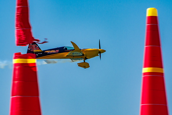 Matt Hall of Australia clips Gate 3 at the Red Bull Air Race season opener in Abu Dhabi, UAE on Saturday 14th February, 2015. Photo by: Stephen Hindley©
