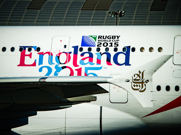 Emirates A380-800 with the 2015 Rugby World Cup decal.  Photo by: Stephen Hindley©