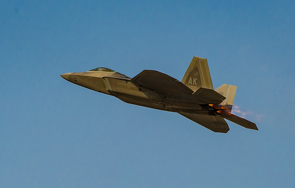A Lockheed Martin F-22 Raptor  at the Dubai Airshow, held at Dubai World Central on 20th November, 2013.  Photo by: Stephen Hindley ©