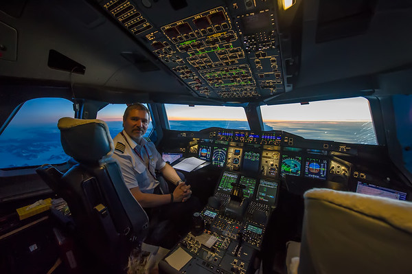 At the controls of the Airbus A380-800 over Greenland.
