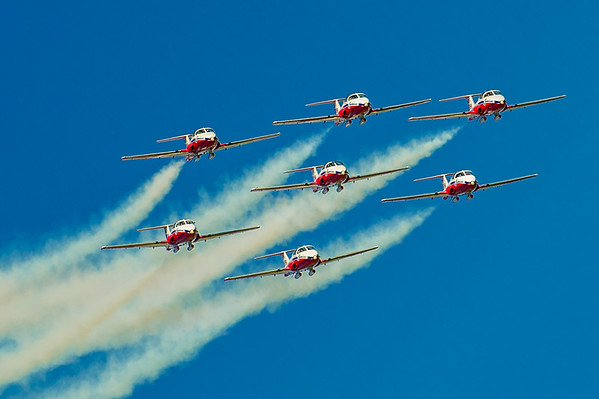 The Canadian Forces Snowbirds, 431 (Air Demonstration ) Squadron in the Canadair CT-114 Tutor perform at the Abbotsford Airsho on 9th August, 2014, celebrating the 90th anniversary of the Royal Canadian Air Force. Photo by: Stephen Hindley©